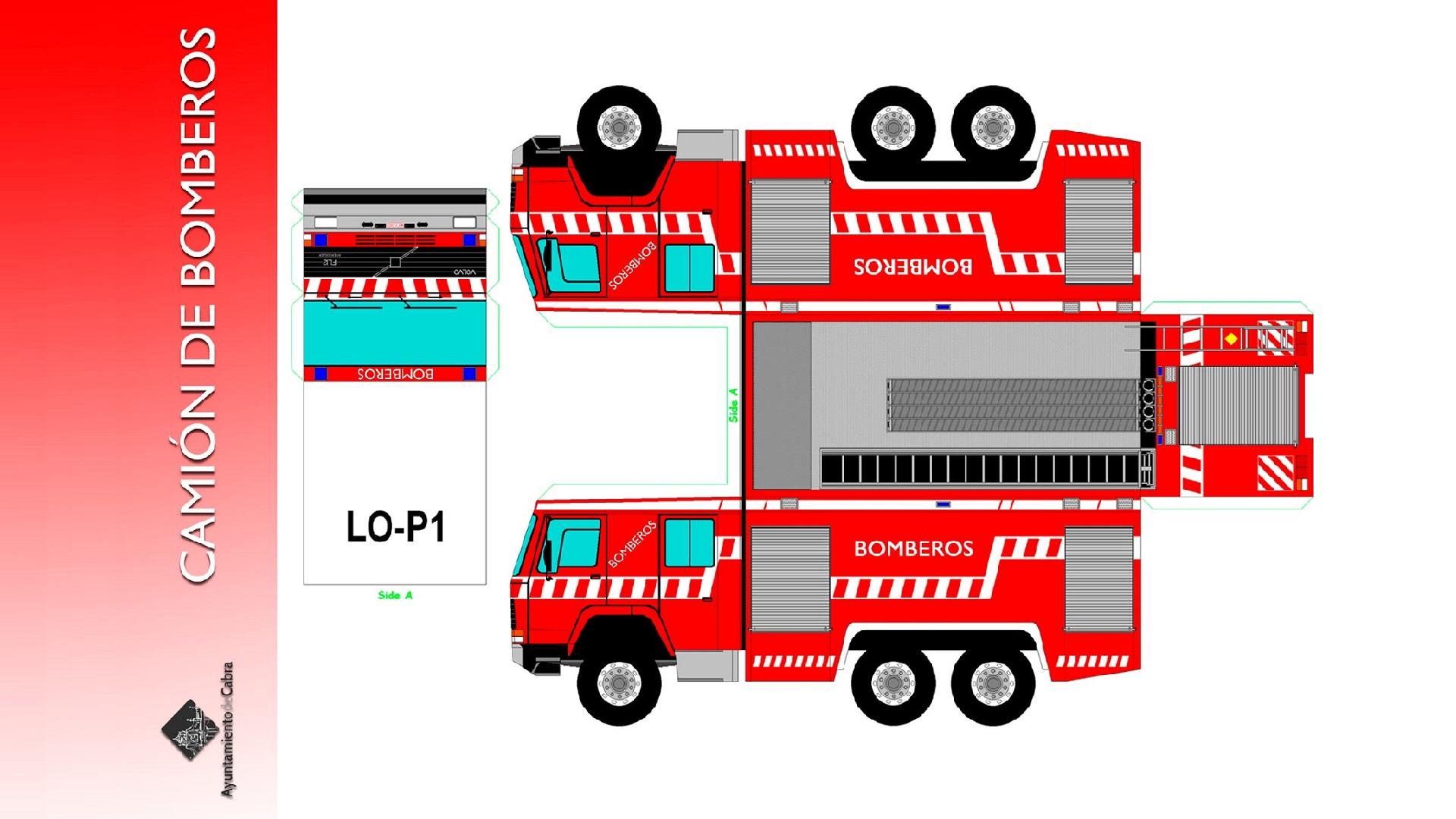 recortables camión de bomberos